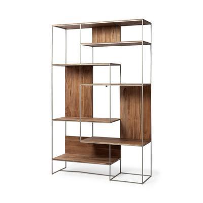 """Morris III 47.2"""" x 74.8"""" Brown Wood and Silver Metal Frame 6 Shelf Shelving Unit - Mercana 69104"""