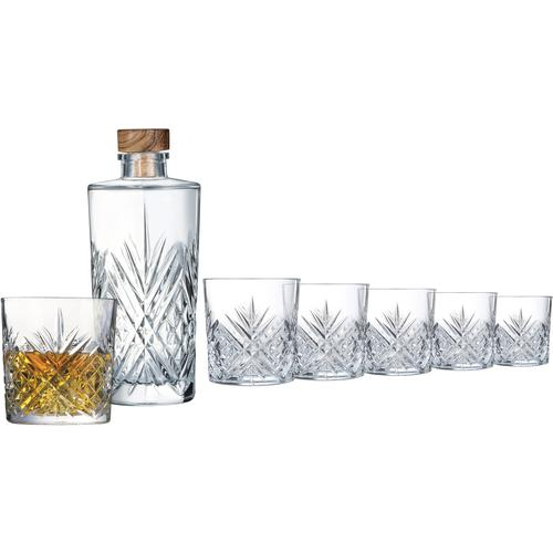 Leonique Whiskyglas Mirka, (Set, 7 tlg., 6 Whiskybecher-1 Karaffe), Whisky-Set (6 Whiskybecher, 1 Schliff-Dekoration, Karaffe mit Holzdeckel, spülmaschinenfest farblos Whiskygläser Gläser Glaswaren Haushaltswaren