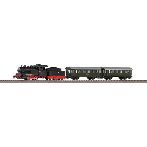 PIKO Modelleisenbahn Startpaket Dampflok mit Personenwagen PKP, (97933) schwarz Kinder Loks Wägen Modelleisenbahnen Autos, Eisenbahn Modellbau