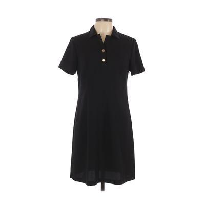 John Roberts - John Roberts Casual Dress - Shirtdress: Black Solid Dresses - Used - Size 10 Petite