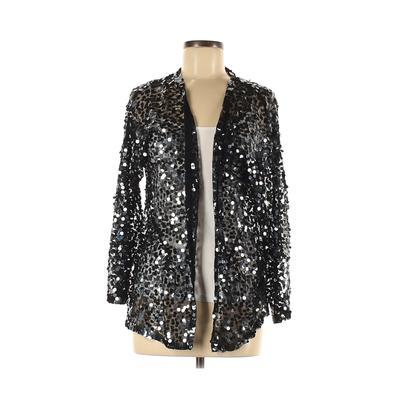 Cathy Hardwick Kimono: Black Solid Tops - Size Medium