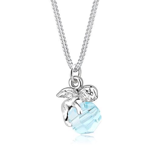 Halskette Engel Kugel Flügel Kristall Silber Elli Hellblau
