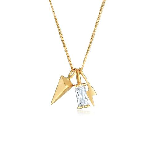 Halskette Zirkonia Rechteck Blitz Pfeil 925 Sterling Silber Elli Gold