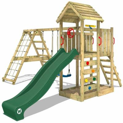 Wooden climbing frame RocketFlyer with swing set and green slide, Garden playhouse with sandpit,