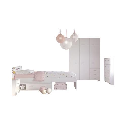 Kinderzimmer Galaxy 4-tlg inkl. Bett + Kleiderschrank + Nachtkommode + Kommode weiß