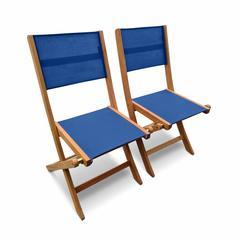 Lot de 2 chaises de jardin pliantes en bois almeria