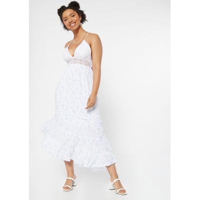 Rue21 Womens Blue Floral Print Crochet Waist Maxi Dress - Size Xl