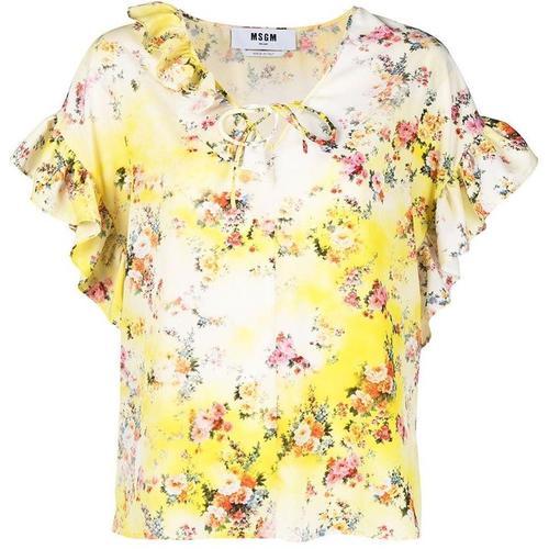 MSGM Bluse mit Blumen-Print