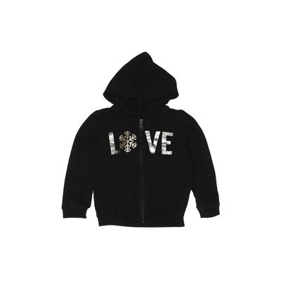 The Children's Place - The Children's Place Zip Up Hoodie: Black Solid Tops - Size 3Toddler