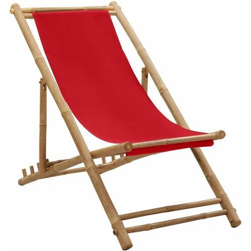 Liegestuhl Bambus und Segeltuch Rot