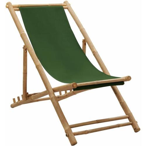 Liegestuhl Bambus und Segeltuch Grün