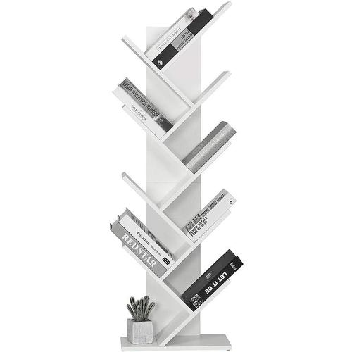 Meerveil - Bücherregal in Baumform aus Holz, exquisites 9 lagiges Aufbewahrungsregal für CDs, Regal