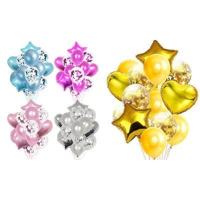 Lot de 14 ballons de décoration : x 2 / Argent + Rose foncé