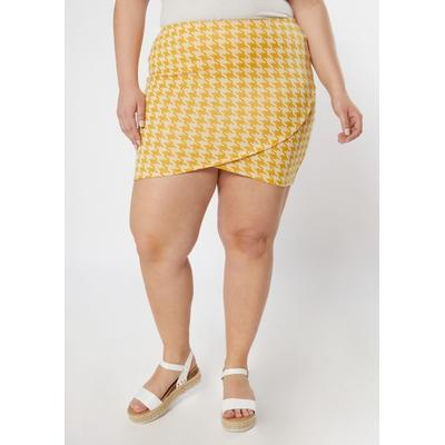 Rue21 Womens Plus Size Mustard Houndstooth Tulip Hem Bodycon Skirt - Size 3X
