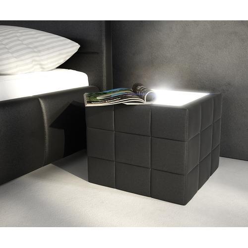 DELIFE Nachttisch Nuncia 41x41x41 cm Schwarz Beleuchtung Steppnaht, Nachttische