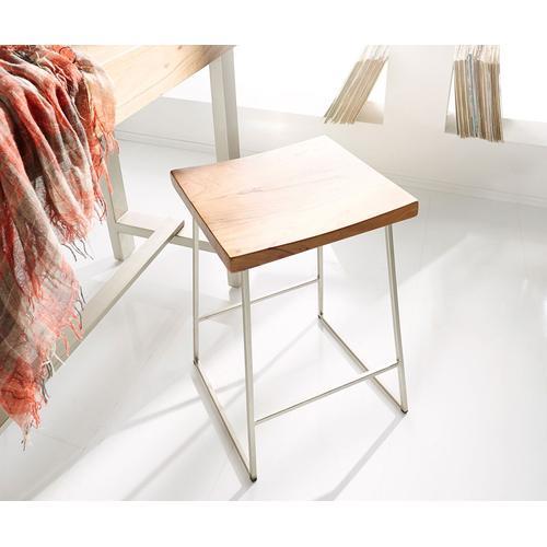 DELIFE Barstuhl Blokk Akazie Natur Metall mit Fußablage, Barstühle