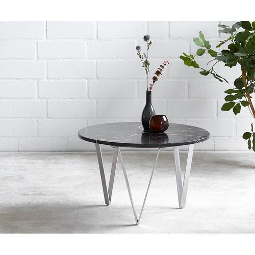 DELIFE Couchtisch Luminoso 60x60 cm Marmor schwarz mit Metallgestell, Couchtische