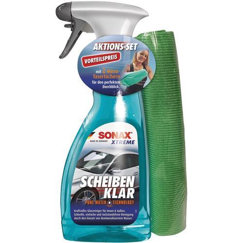 Sonax Autopflege XTREME ScheibenKlar 500ml + 2 MF-Tücher, Mikrofaser-Tücher blau Autozubehör Reifen