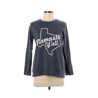 American Apparel - American Apparel Long Sleeve T-Shirt: Gray Graphic Tops - Size Large