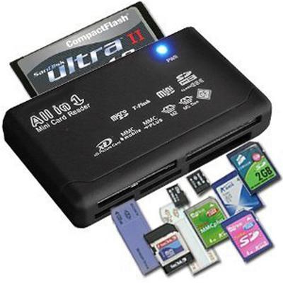 Lecteur de cartes USB 2.0, adaptateur SD, avec support TF et CF, SD, Mini, SDHC, MMC, MS, XD