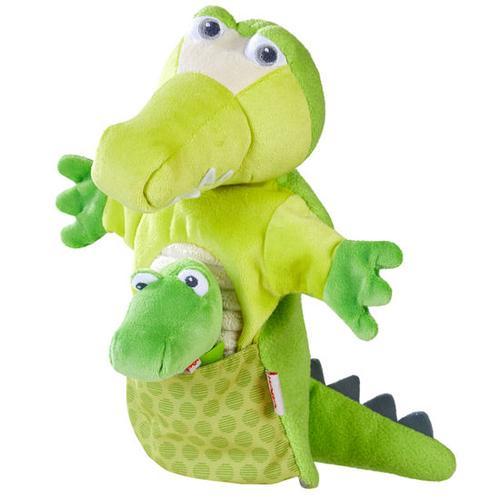 HABA Handpuppe Krokodil mit Baby, bunt