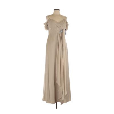 Alex Evenings Cocktail Dress - A-Line: Tan Solid Dresses - Used - Size 12