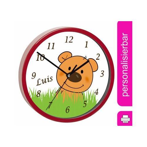 Kinder Wanduhr personalisiert mit Name Teddy Bär-Graß rot