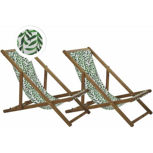 Beliani - Liegestühle 2er Set aus hellem Akazienholz mit weiß-grünem Bezug zusammenklappbar