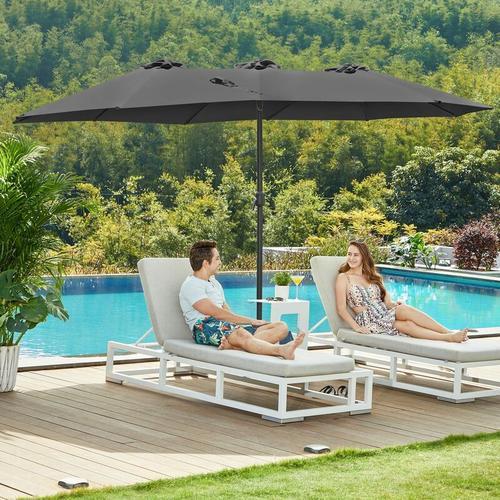 Doppelsonnenschirm 460 x 270 cm, extra großer Sonnenschirm, Gartenschirm, UV-Schutz bis UPF 50+,