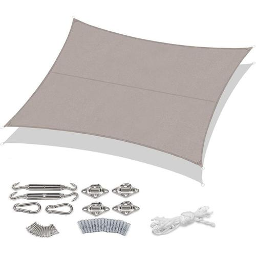 PES Sonnensegel 300 x 400cm Sonnenschutzsegel, Taupe mit Montageset