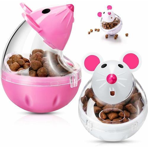 2 Stück Interaktiver Katzenfutterautomat Futterball Katzenmausfutterbecher Futterspielzeugball