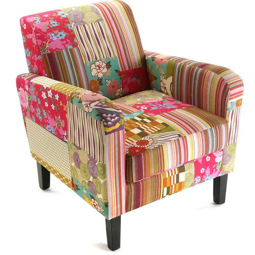 Versa Pink Patchwork Sessel für Wohnzimmer, bequemer Sessel, 71x77x65cm