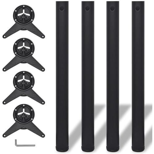 4x höhenverstellbares Tischbein Tischbeine Schwarz 710 mm
