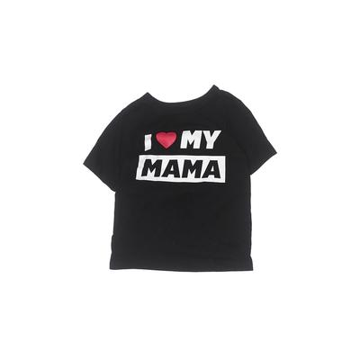 The Children's Place - The Children's Place Short Sleeve T-Shirt: Black Solid Tops - Size 3Toddler