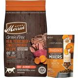 Merrick Real Texas Beef + Sweet Potato Recipe Grain-Free Adult Dry Food + Instinct Freeze Dried Raw Boost Mixers Grain-Free Gut Health Recipe Dog Food Topper