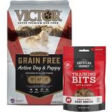 VICTOR Purpose Active Dog & Puppy Formula Grain-Free Dry Food + American Journey Beef Recipe Grain-Free Soft & Chewy Training Bits Dog Treats