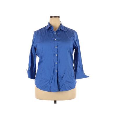 KIRKLAND Signature Long Sleeve Button Down Shirt: Blue Solid Tops - Size 20