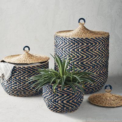 Zelda Lidded Baskets - Indigo, S...