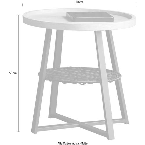 SalesFever Beistelltisch, Ablagefläche unter der Tischplatte aus Metallrahmen und Polyrattan beige Beistelltische Tische Beistelltisch
