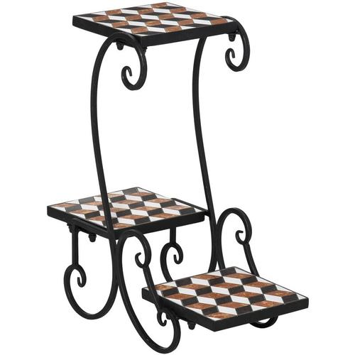 Outsunny® Pflanzentreppe Blumenregal Mosaik Platt robust pflegeleicht Schwarz - schwarz