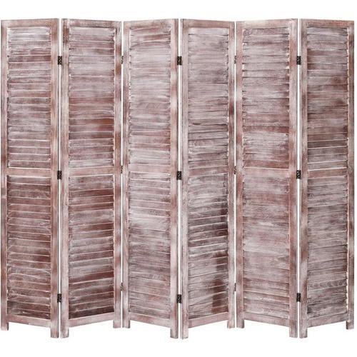 6-tlg. Raumteiler Braun 210×165 cm Holz