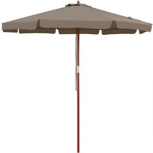 Sonnenschirm Holz 330 cm UV Schutz 50+ wasserabweisend taupe