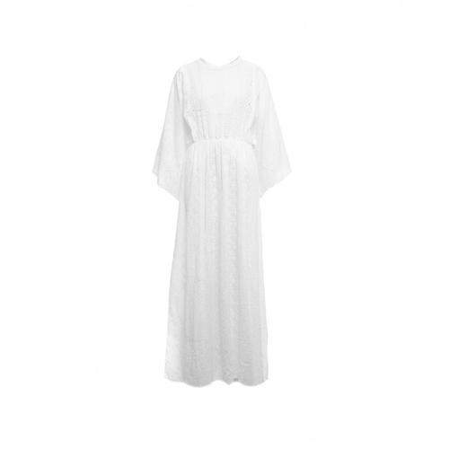 Connor & Blake Damen Maxi Kleid mit Häkelmuster Weiß