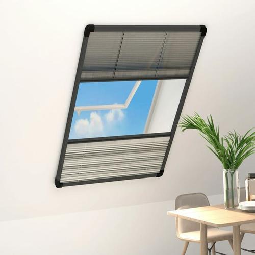 Insektenschutz-Plissee für Fenster Alu 80x160 cm mit Jalousie