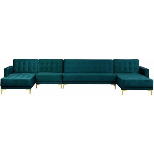 Sofa Grün Samtstoff U-Förmig Wohnlandschaft Schlaffunktion Klassisch Wohnzimmer