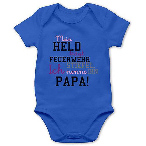 Feuerwehr Baby Mein Held Papa Feuerwehrmann Bodys Kinder blau Baby