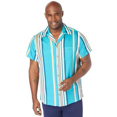 Men's Big & Tall 4-Way Stretch Button Down Shirt by Meekos in Navy Teal Stripe (Size 3XL)