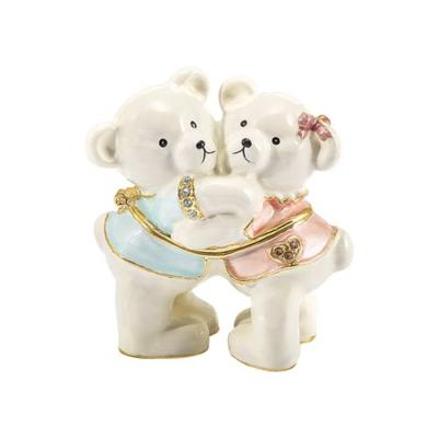 Luxury Giftware by Jere Sky Blue Light Pink Bejeweled Teddy and Tootsie Bears Trinket Box