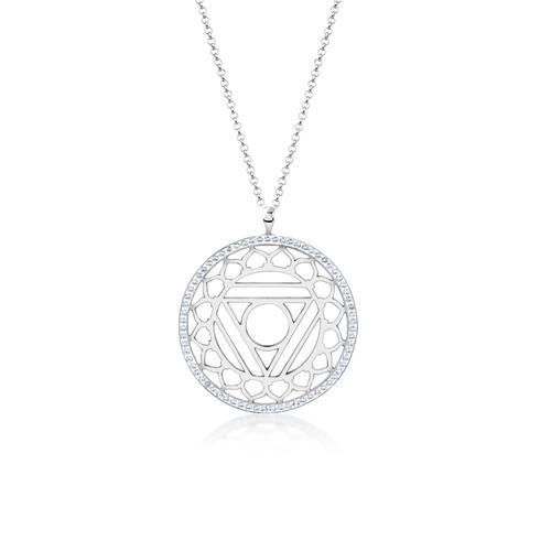 Halskette Vishuddha Chakra Kristalle 925 Silber Nenalina Silber