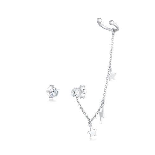 Ohrringe Stecker Kristalle Earcuff Stern Blitz 925 Silber Elli Silber